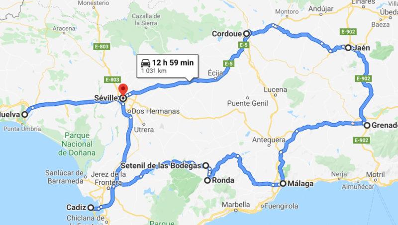 itinéraire une semaine en Andalousie