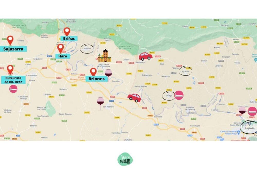 Carte itinéraire la rioja la route des vins espagnols