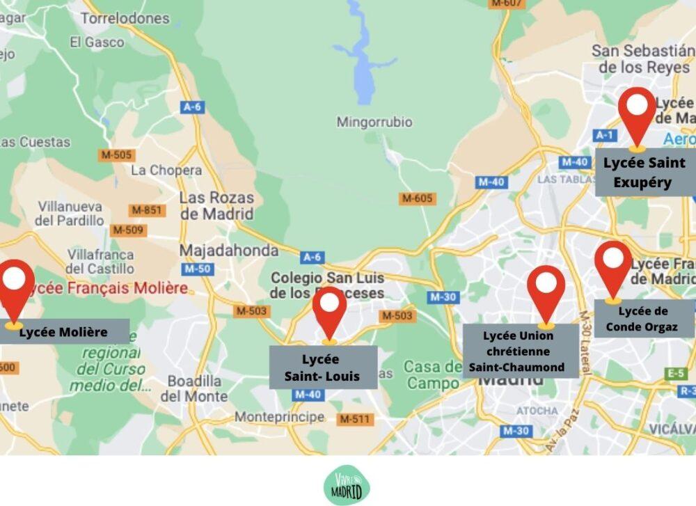 liste lycées francais de madrid